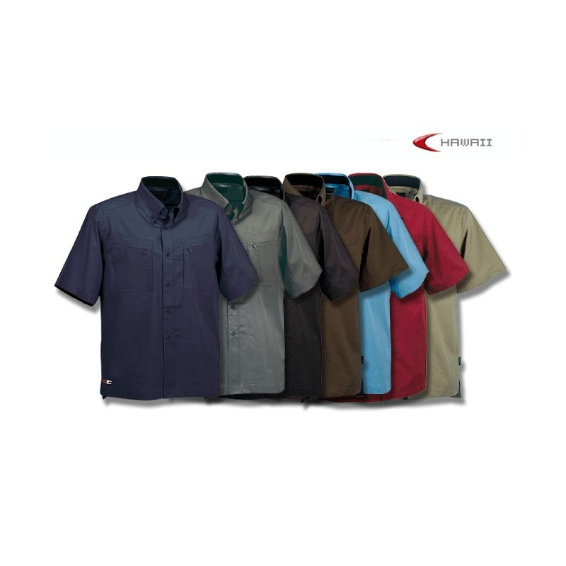 Camicia Cofra M/Corta Tasche Zip Hawaii
