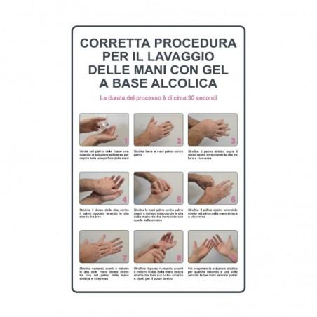 Cartello informativo, Coretta procedura lavaggio mani con alcool , in alluminio 20 x 30 cm