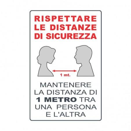 Cartello informativo, Rispetta le distanze di sicurezza, in alluminio 20 x 30 cm