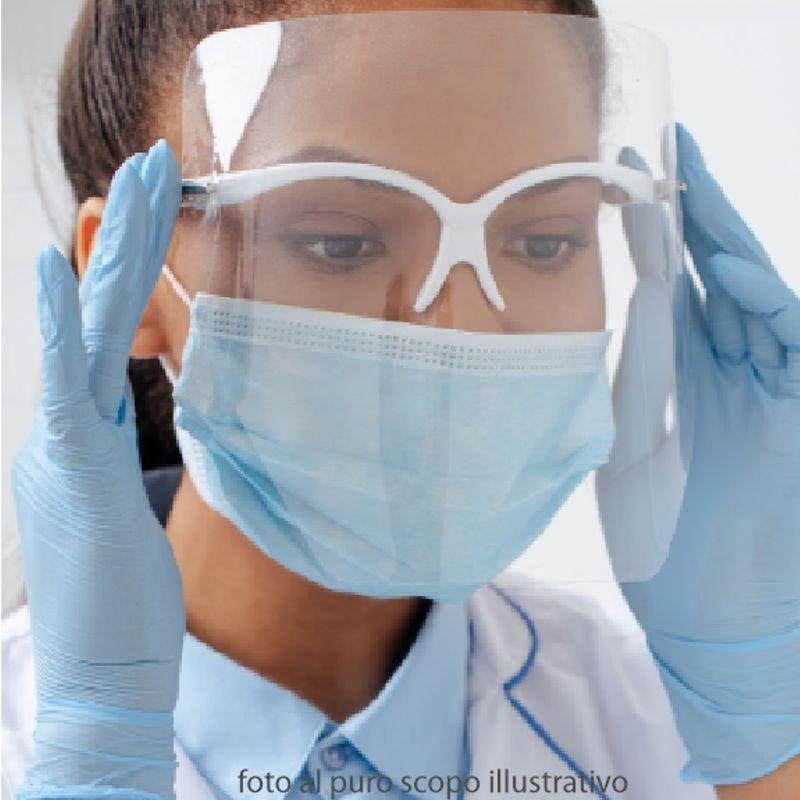 Visiera facciale a tutta larghezza morbido anello elastico che tiene saldamente la maschera a chi la indossa.