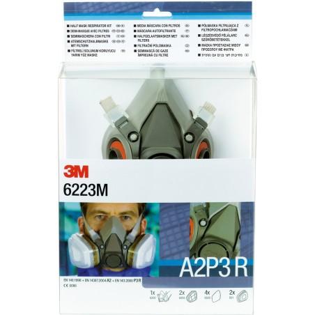 Kit respiratore con semimaschera riutilizzabile 3M™, filtro A2P3 R, maschera media, 6223M