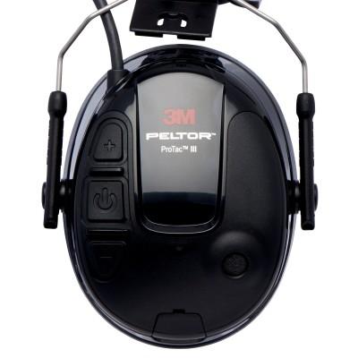 3M™ PELTOR™ ProTac™ III Cuffia Protettiva, 25 dB, nero,coppe sottili, con attacco per elmetto, MT13H220P3E