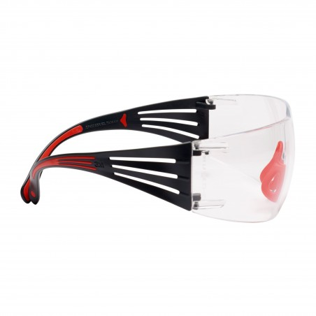 3M™ SecureFit™ 400 Occhiali di protezione, montatura Rosso/Grigio, Scotchgard™ anti nebbia, Lenti chiare, SF401SGAF-RED