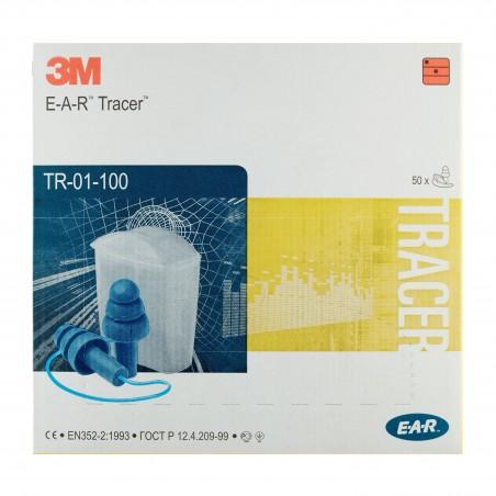 3M™ E-A-R™ Tracers™ Inserti auricolari, 32 dB,  con cordicella, con custodia, 50 paia per confezione, TR-01-100