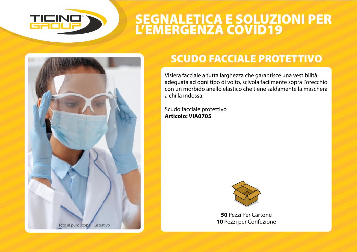 Scudo facciale protettivo anti corona virus
