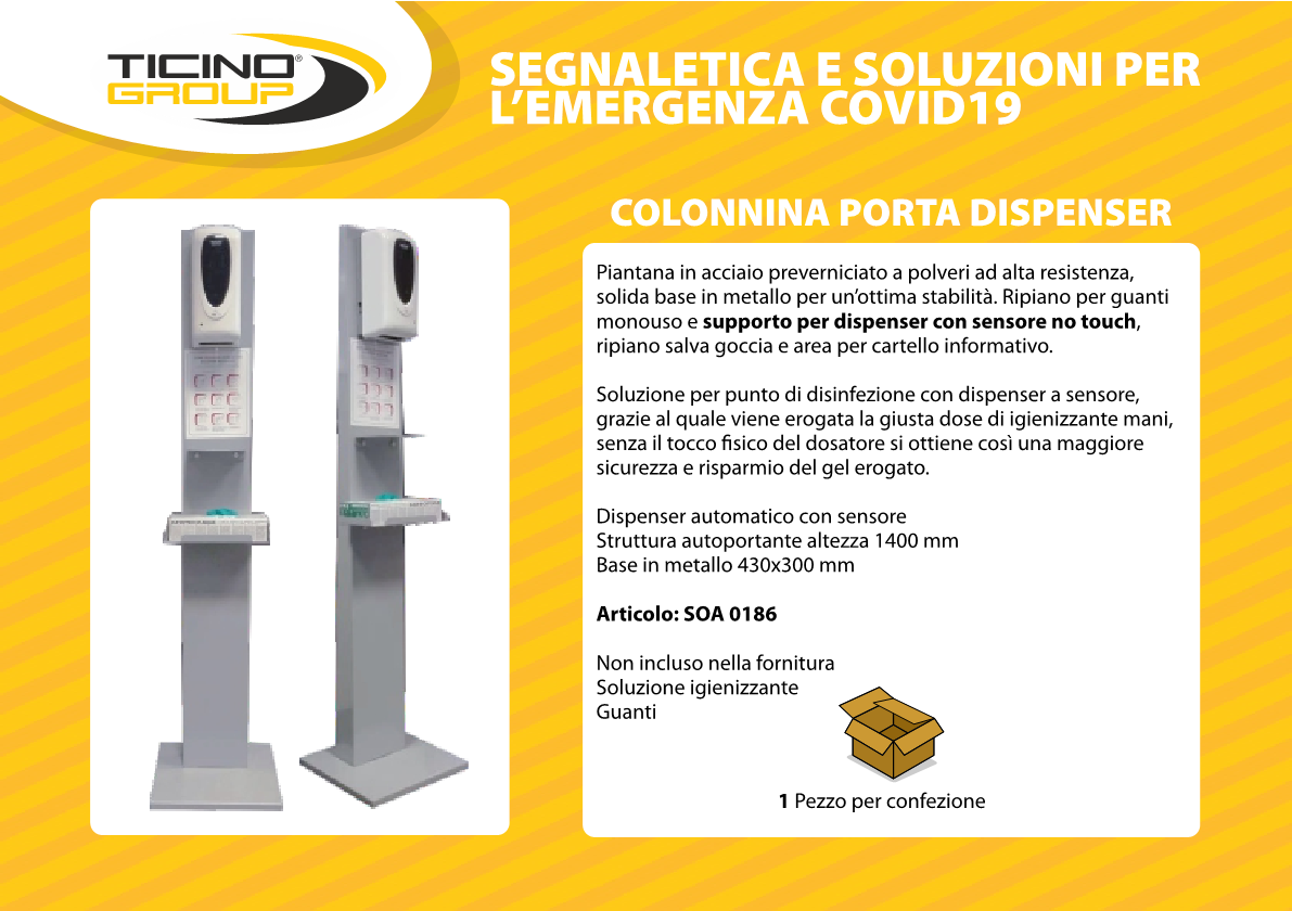 Colonnina porta dispenser NO TOUCH con sensore
