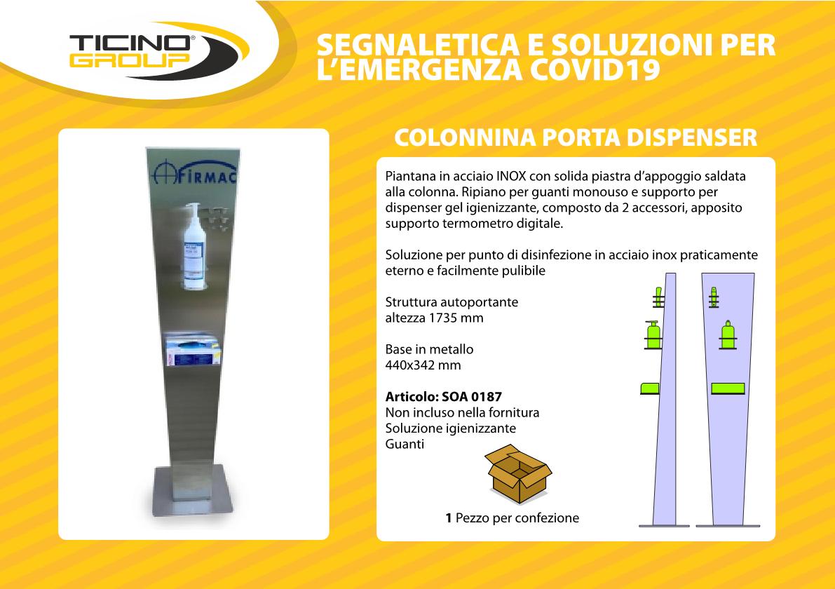 Colonnina porta dispenser in acciaio INOX