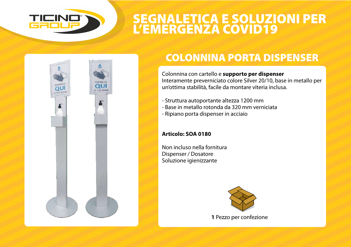 Colonnina porta dispenser con segnaletica